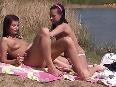 Lesbian, Masturbation, Outdoor