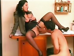 Blowjob, Facial, Brunette, Pantyhose