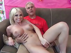 Blondine, Blowjob, Angespritzt, MILF