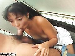 Asian, Blowjob, Cumshot, Public
